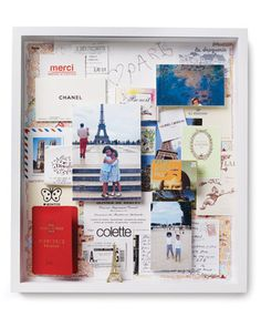 a memorable trip collage using souvenirs, cards, ephemera & thoughts with a map in the background