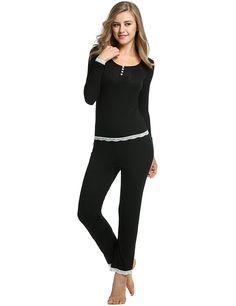 Meloo Pyjama Set Damen Schlafanzug Slim fit Sport Anzug Top & Hose: Amazon.de: Bekleidung