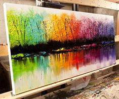 Colorful Landscape MADE-TO-ORDER Painting.    The painting I will create for you will be similar to the one you see here, that I have already sold. I will use palette knife to create a colorful vibrant texture.  The painting will be created and signed by me, the artist.  The painting will be ready to hang.  It will take me 5 business days to create it.    Paintings title: Change of Seasons  Dimension: 48x24  Medium: Acrylic on wrapped stretched canvas      All my paintings are created with…