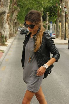 leather jacket over a casual dress - wadulifashions.com