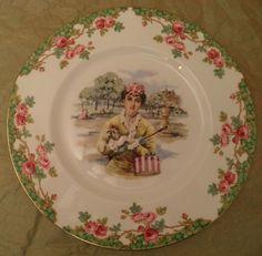 Royal Stafford Old English Gardens Gladstone Plate - Vintage Woman Gloves Hat Hatbox. $23.50, via Etsy.
