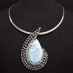 """Sterling Silver Larimar Pendant & Collar Pendant Stamped """"950 JJ"""" JJ are my uncles initials, the artist. Higher Sterling Finesse. authentic Larimar. Pendant 2.8 x 1.9 inches.  Collar stamped """"925 Italy"""". Size 16 inches  Sterling silver is an alloy of silver containing 92.5% by mass of silver and 7.5% by mass of other mThe sterling silver standard has a minimum millesimal fineness of 925.   The fitness on this ring is 950.  All my jewelry is solid sterling silver. I do not plate.   Hand…"""