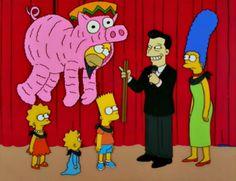 Homer dressed as a pinata pig Simpsons Quotes, Simpsons Cartoon, Goat Cartoon, Santa's Little Helper, Futurama, Disney Cartoons, My Childhood, Memes, The Dreamers