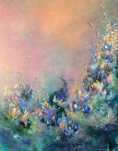 'The Essence of Being' Lovely abstract flowers on a salmon-pink background. Graceful blue, gold and purple blossoms with lots of texture. Painting by artist Jaanika Talts.