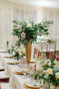 Eucalyptus, rose and olive branch wedding centerpiece: http://www.stylemepretty.com/2016/10/10/multicultural-catholic-buddhist-wedding/ Photography: Jill Dillender - http://jendillenderphotography.com/wp1/
