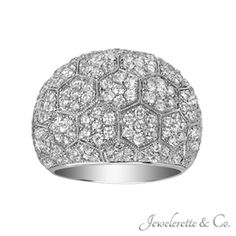 """Micro Pave Diamond """"Bed of Flowers"""" Fine Jewelry Fashion Band."""