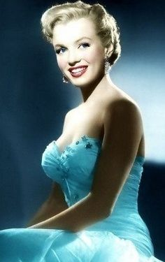 "Marilyn Monroe - 1950. ""ALL ABOUT EVE."" She Looks So Lovely In This Blue Evening Gown. Photo By Laszlo Willinger."