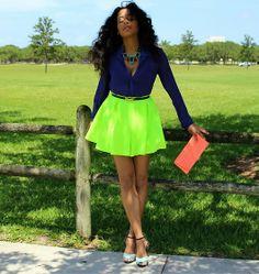 skater skirts | Gojane Neon Skater Skirt, Acne Royal Purple Blouse, Forever 21 ...