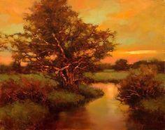 """Evening's golden light by Teresa Saia Oil ~ 9"""" x 12"""""""
