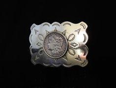 Vintage Heavy SOUTHWESTERN Nickel Silver Belt Buckle with 1885 MORGAN Silver Dollar