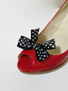Black Satin with White Polka Dots Shoe Clips Bow Pair by YoungSparkleandShine on Etsy