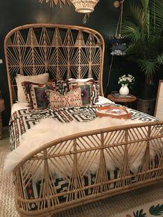 Motus Rattan Bed- Mecox in 2020 Grey Interior Doors, Tropical Bedrooms, Tropical Bedroom Products, Bohemian Bedroom Decor, Boho Stil, House Rooms, Home Bedroom, Home Decor Inspiration, Rattan