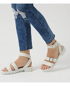 White Chunky Ankle Strap Sandals  | New Look