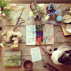 Flowers & painting supplies on a table. Sounds like a lovely way to spend an afternoon | Philippa Stanton