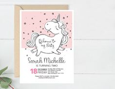 Modern Birthday Invitation, Unicorn Bday Invite Printable, Baby Shower Party Invitation, First Bday Invite, Unicorn Party Invite (B8.Bday)