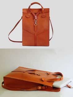 Laptop bag handmade in brown leather. Handbag and detachable shoulder strap, front pockets. Design Ludena.