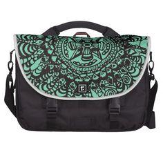 Super Black and Green Aztec Mandala Messenger Bag  #zazzle #bag #trendy  See more at www.tribalstyledesign.com