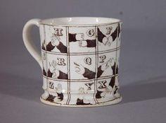 Finger alphabet Staffordshire mug c1840s