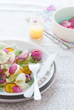 Shaved Beet & Fennel Salad with a citrus vinaigrette. Too pretty to not have on the table for Easter Sunday :-)