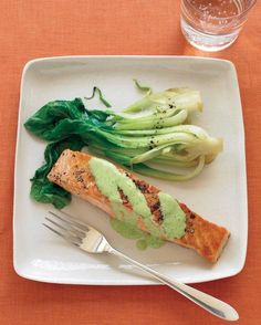 Salmon with Wasabi Sauce and Baby Bok Choy Recipe could make it slimming world by using fat free Greek yogurt.