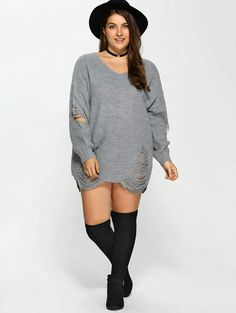 Plus Size Distressed Pullover Sweater in Gray   Sammydress.com