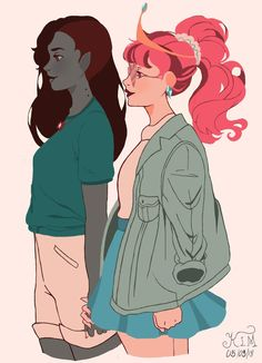 Marceline and Bubblegum Adventure Time Anime, Princesse Chewing-gum, Adveture Time, Character Art, Character Design, Marceline And Princess Bubblegum, Prince Gumball, Lesbian Art, Lgbt Love