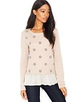 Maison Jules Long-Sleeve Caviar-Dotted Layered-Look Top