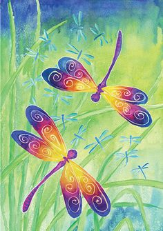Accent Flag - Dancing Dragonflies Decorative Flag at Garden House Flags at GardenHouseFlags