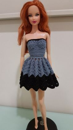 Barbie Strapless Chevron Dress (Free Crochet Pattern)