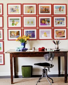 red framed gallery wall