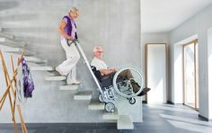 With our scalamobil it's getting easy to climb stairs with your wheelchair – even narrow and spiral stairs.