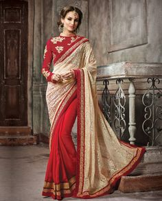 Red and cream half and half sari with embroidered blouse   1. Red and cream russel net satin chiffon half and half sari2. Golden embellished border3. Comes with matching unstitched blouse