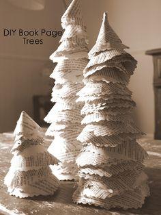albero di natale, decorazione natale, addobo ecologico con carta di un libro