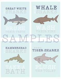 Sharks Bathroom Prints by hlr976 on Etsy