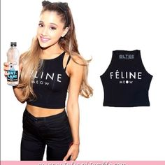 """Brian Lichtenberg feline crop top no trades New without tags. Only tried on. Black feline """"meow"""" crop top Brian Lichtenberg Tops Crop Tops"""
