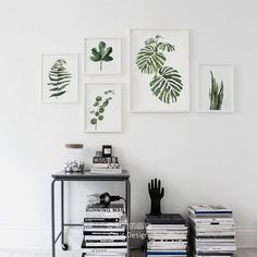 Nordic Green Plant leaf rural Wall Pictures for Home Decoration,Watercolor Tropical Plant leaves Canvas Art Print Poster