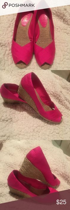 Ralph Lauren Hot Pink heels Great condition! Only worn a couple of times. Shantung Silk. Ralph Lauren Shoes Espadrilles