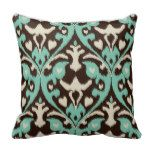 Modern bold turquoise brown ikat tribal pattern throw pillow more great gift ideas at www.dramaticallycorrectdesigns.com