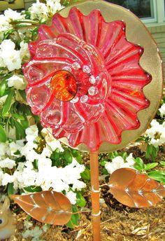 glass garden flower yard artgarden gifts flower by ADelicateTouch1