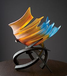 """Hemisphere: Tropicale by Brian Russell (Art Glass Sculpture) (16"""" x 15"""")"""