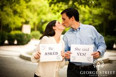 """Cute Save the Date Idea, maybe instead """"i finally asked"""" and me holding a sign saying """"finally!"""""""