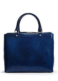 cobalt patent leather bag
