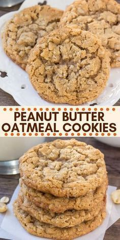 These peanut butter oatmeal cookies are soft. These peanut butter oatmeal cookies are soft chewy and filled with peanut butter goodness. The oatmeal adds tons of texture and its a quick and easy recipe that all peanut butter fans are sure to love. Cake Mix Cookie Recipes, Oatmeal Cookie Recipes, Yummy Cookies, Oatmeal Peanut Butter Cookies, Peanut Butter Snacks, Peanut Butter Oatmeal Chocolate Chip Cookie Recipe, Cookies With Oatmeal, Oatmeal Cupcakes, Quick Cookies