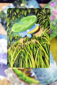 "awesomepaintedcards: ""Lotad AlterHere's a cute little Lotad just chilling in a puddle for ya :) The grass was so tedious to do on this card, but i think it turned out looking pretty good. Facebook 