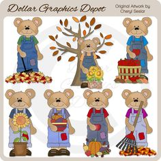 Overall Bears - Autumn - Clip Art Collection - Only $1.00 at www.DollarGraphicsDepot.com : Great for printable crafts, web graphics, scrapbook pages, autumn greeting cards, calendars, gift boxes / bags, gift tags / labels, candy bar wrappers, paint can covers, iron-on transfers, door hangers, and much more!