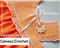 Vestido para Niña con Canesú tejido al Crochet / Moldes y paso a paso | Crochet y Dos agujas