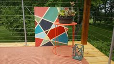 Outdoor Wood Art.  Abstract, Modern.  Yellow House Landscape Design. Bre Cotter.