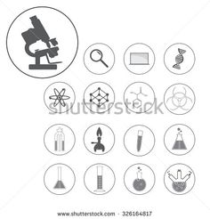 vector illustration of science and laboratory icons set. - stock vector