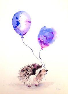 Saatchi Art: Party hedgehog Painting by Krista Bros