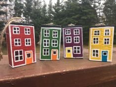 Jellybean Row House Ornament and Artwork Gift Set House Ornaments, Wood Ornaments, Xmas Ornaments, Wooden Projects, Wooden Crafts, All Things Christmas, Christmas Crafts, Painted Rocks, Hand Painted